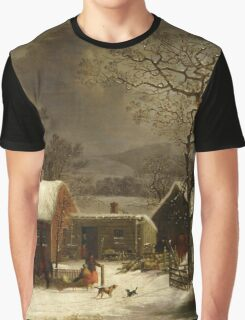George Henry Durrie - Winter Scene In New Haven, Connecticut Graphic T-Shirt
