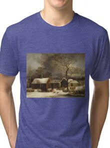 George Henry Durrie - Winter Scene In New Haven, Connecticut Tri-blend T-Shirt