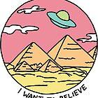 Pyramid X-filies Egyptian alien ufo desert sphynx 90s retro 80s print by Big Kidult