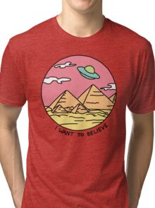 Pyramid X-filies Egyptian alien ufo desert sphynx 90s retro 80s print Tri-blend T-Shirt