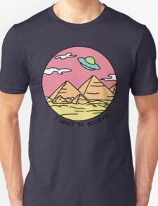 Pyramid X-filies Egyptian alien ufo desert sphynx 90s retro 80s print Unisex T-Shirt