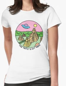 Mayan alien x-files scully mulder ufo pyramid egyptian pastel 90s tv Womens Fitted T-Shirt