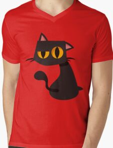 Sharp Black Cat Mens V-Neck T-Shirt