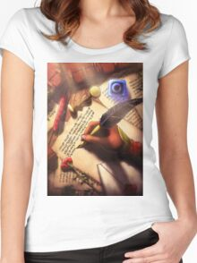 The Writer (Digital Illustration) Women's Fitted Scoop T-Shirt