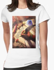 The Writer (Digital Illustration) Womens Fitted T-Shirt
