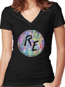 Rough Edit Splatter Logo Women's Fitted V-Neck T-Shirt