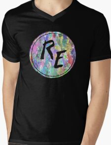 Rough Edit Splatter Logo Mens V-Neck T-Shirt