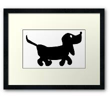 Dachshund Black and White Framed Print