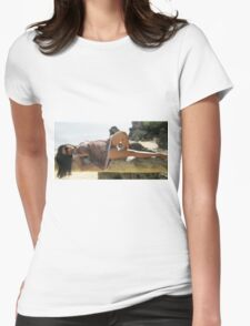 Beach Girl Thighs and Playful Tease. Womens Fitted T-Shirt