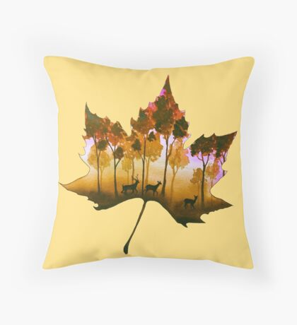Forest Leaf Yellow Throw Pillow
