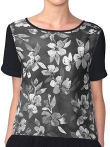 Blossoms on Charcoal Ink Chiffon Top