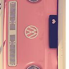 Pink VW camper van by Ingrid Beddoes