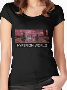 TEMPLE OF WATER /HYPERION WORLD ,Sci-Fi Movie Women's Fitted Scoop T-Shirt