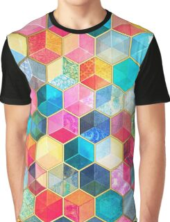 Crystal Bohemian Honeycomb Cubes - colorful hexagon pattern Graphic T-Shirt