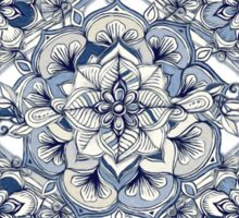 Floral Diamond Doodle in Dark Blue and Cream Sticker
