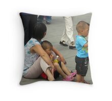 A Mother With Her Two Boys Throw Pillow