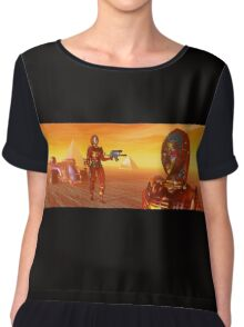 CYBORG ARES IN THE DESERT OF HYPERION Sci Fi Movie Chiffon Top