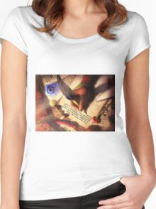 The Writer (Digital Illustration) - Rotated Women's Fitted Scoop T-Shirt