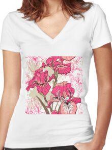 iris flower  Women's Fitted V-Neck T-Shirt