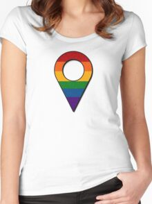 Rainbow Map Location Icon Women's Fitted Scoop T-Shirt