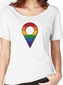 Rainbow Map Location Icon Women's Relaxed Fit T-Shirt