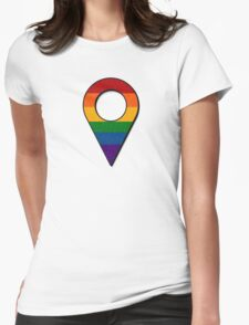 Rainbow Map Location Icon Womens Fitted T-Shirt