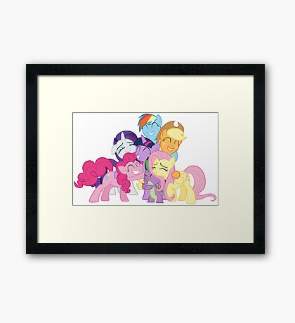 Mane Six and Spike group hug Framed Print