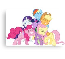 Mane Six and Spike group hug Canvas Print