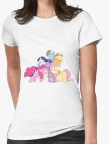 Mane Six and Spike group hug Womens Fitted T-Shirt