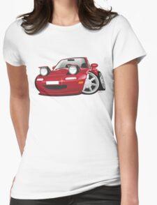 Mazda MX-5 Miata caricature red Womens Fitted T-Shirt