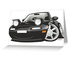 Mazda MX-5 Miata caricature black Greeting Card