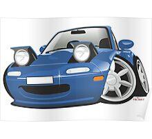Mazda MX-5 Miata caricature blue Poster