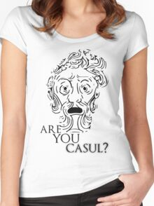 Big Daddy says: Are you casul? - Black Women's Fitted Scoop T-Shirt