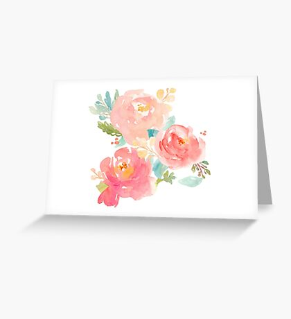 Peonies Watercolor Bouquet Greeting Card