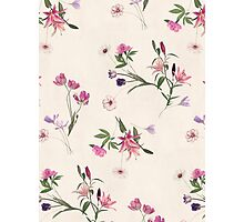 Scattered Floral on Cream Photographic Print