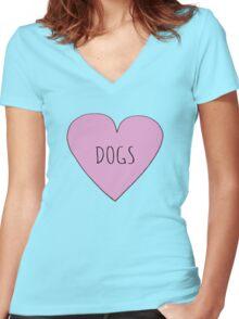 DOG LOVE Women's Fitted V-Neck T-Shirt