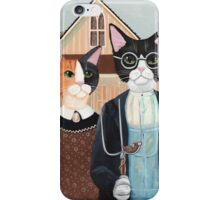 Ameowican Gothic Calico and Tuxedo Cat iPhone Case/Skin