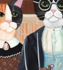 Ameowican Gothic Calico and Tuxedo Cat Sticker