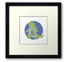 Larvitar, Pupitar and Tyranitar Silhouettes Framed Print