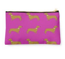 Short haired sausage dogs white collar - hot pink Studio Pouch