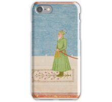 Khan Jahan Bahadur standing on an embroidered prayer rug, India, Mughal iPhone Case/Skin