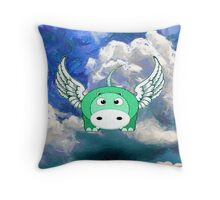 A Flying Hippo - pillow & tote, etc design Throw Pillow