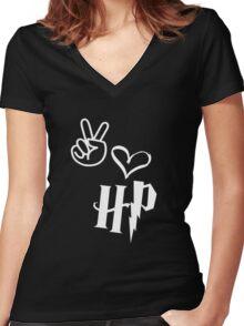 LOVE HARRY Women's Fitted V-Neck T-Shirt