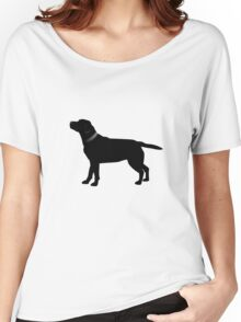 Single Black Labrador Black Collar Women's Relaxed Fit T-Shirt