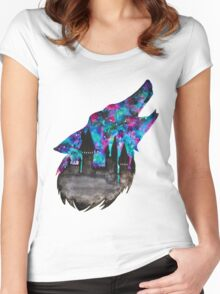 Double Exposure Harry Potter Werewolf Hogwarts Silhouette Women's Fitted Scoop T-Shirt