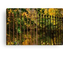 Autumn Reflections Through the Fence Canvas Print