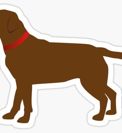 Chocolate Labrador Red Collar Sticker