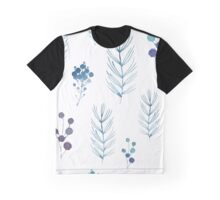 Floral White Blue Watercolor Graphic T-Shirt