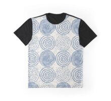 China Blue Hand Drawn Circle Pattern Graphic T-Shirt