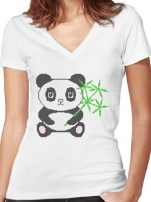Funny cross-stitch panda Women's Fitted V-Neck T-Shirt